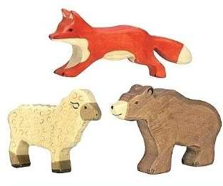 jouets figurines animaux bois