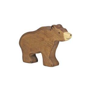 grand ours brun en bois - jouet naturel pour enfant