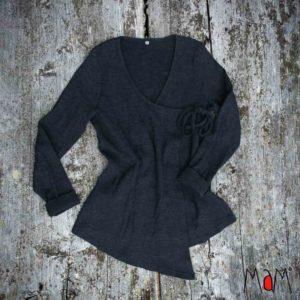 MaM_Woollies_Wrap Cardigan_gilet_adulte_maman_laine-merinos-noir femme
